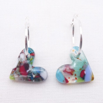 Glass Heart earrings on sterling silver hoops #3