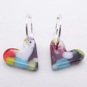 Glass Heart earrings on sterling silver hoops #5
