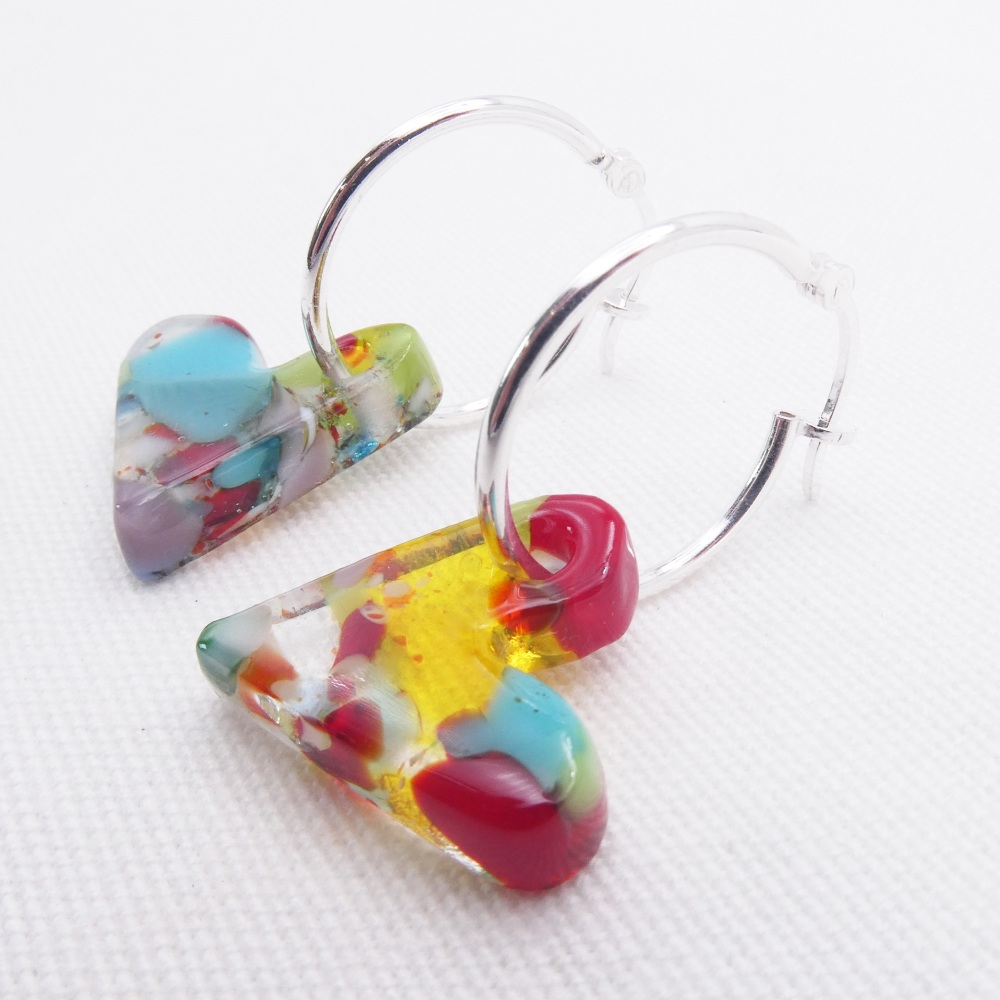 Glass Heart earrings on sterling silver hoops #6
