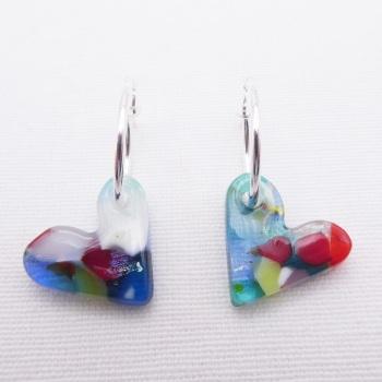 Glass Heart earrings on sterling silver hoops #4