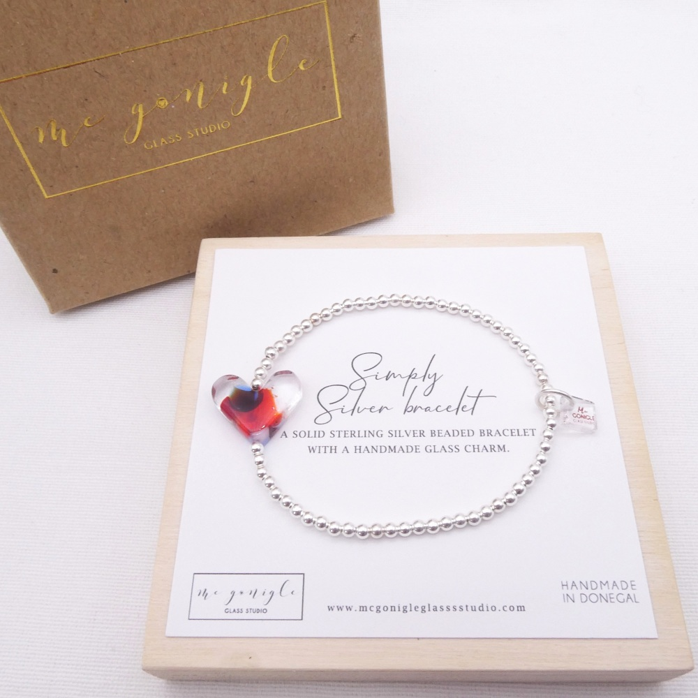 Simply Silver Bracelet with a multicoloured Glass Heart #1