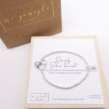 Simply Silver Bracelet with a multicoloured Glass Heart #4