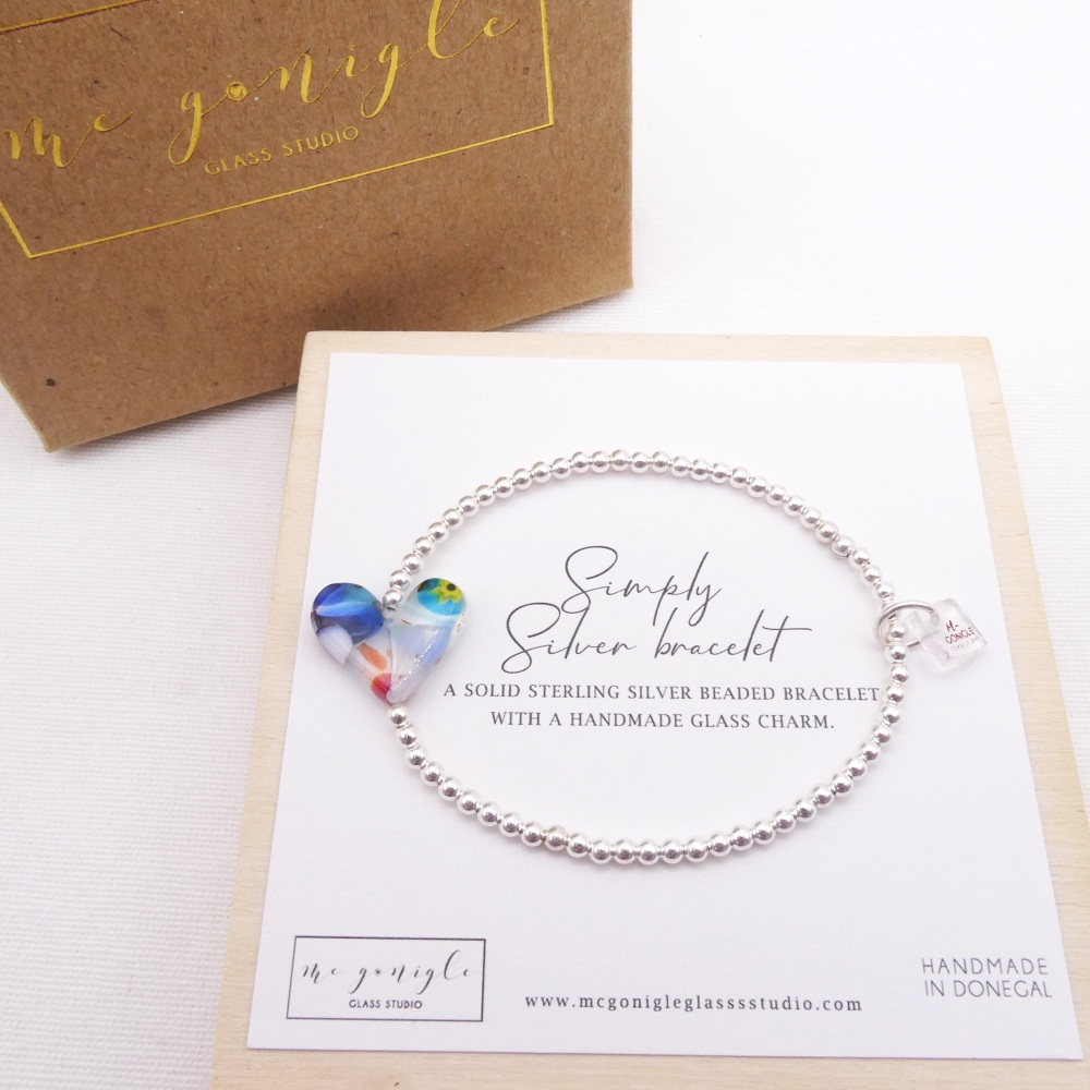 Simply Silver Bracelet with a multicoloured Glass Heart #5