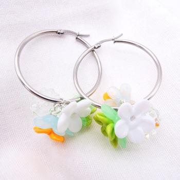 """""""Spring flowers""""Large Creole Glass hoop earrings-"""
