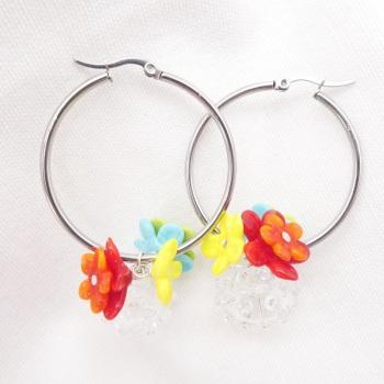 """Hola"" Large Creole Glass hoop earrings-"