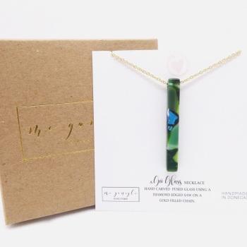 Green Glass Pillar Geo Necklace on gold