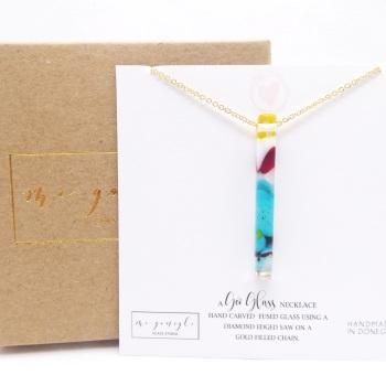 Multicoloured Glass Pillar Geo Necklace on gold