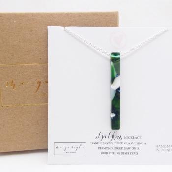 Green Glass Geo Pillar necklace on silver #1