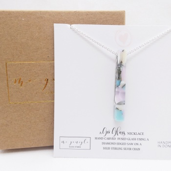 Pastel Glass Geo Pillar necklace on silver
