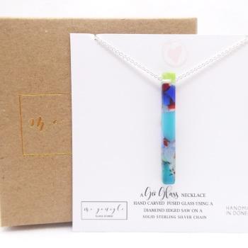 Multicoloured Glass Geo Pillar necklace on silver