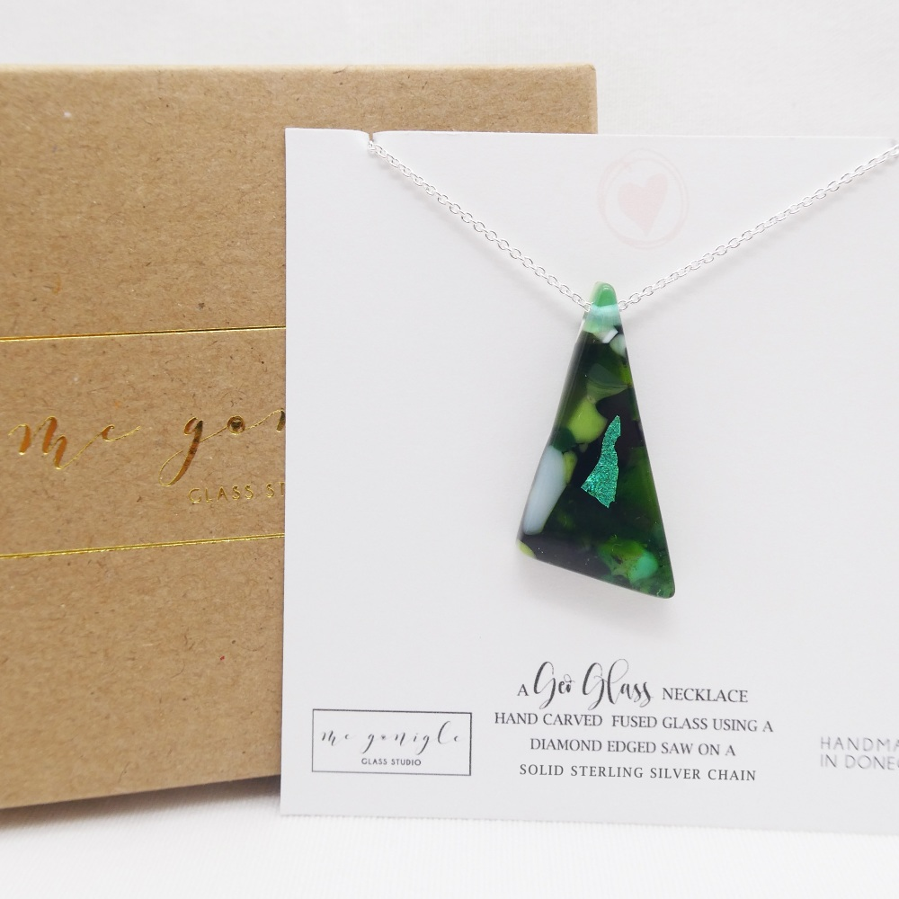Green Glass geo pendant