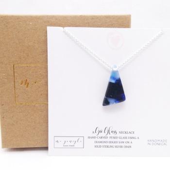 Small Blue Glass geo pendant