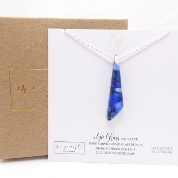 Thin Blue Glass geo pendant