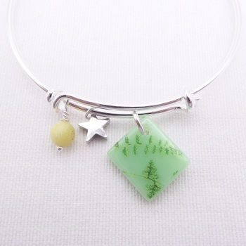 Mint green Folliage Glass Tile  On a Silver Plated Bangle
