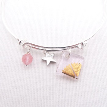 Translucent Pink sun Glass Tile  On a Silver Plated Bangle