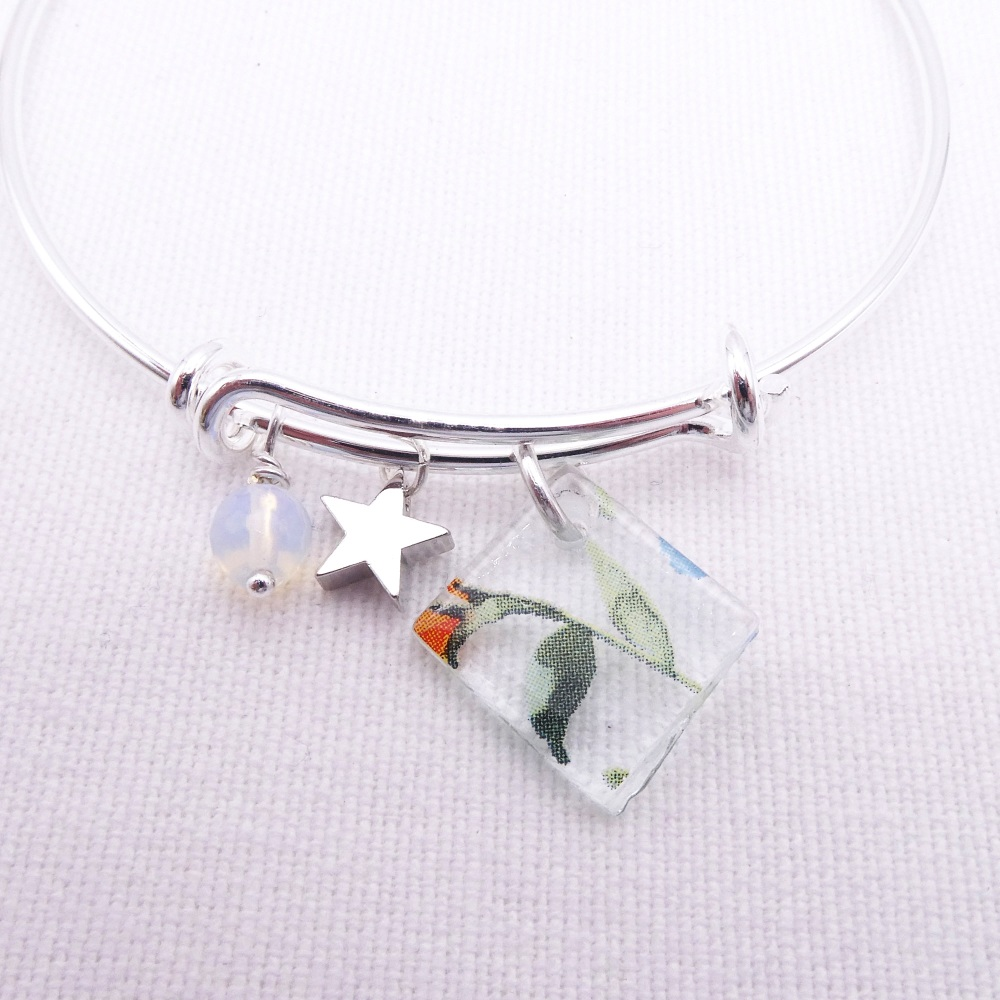 Clear Watercolour Floral Glass Tile  On a Silver Plated Bangle #3