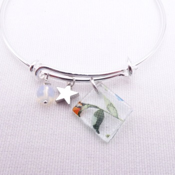 Clear Watercolour Floral Glass Tile  On a Silver Plated Bangle