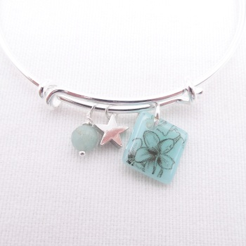 Turquoise floral tile On a Silver Plated Bangle