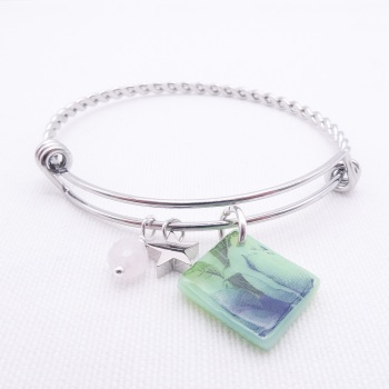 Mint green floral Glass Tile On a Silver Plated Twisted Bangle