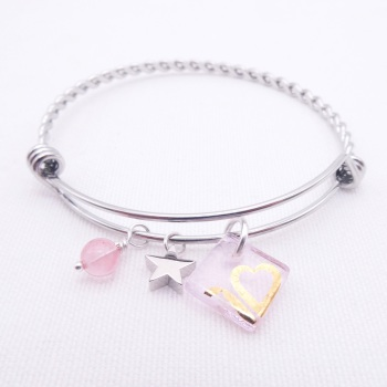 Translucent pink sun Glass Tile On a Silver Plated Twisted Bangle
