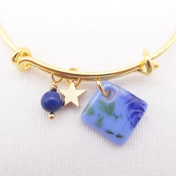 Powder blue Floral Glass Tile On a 14K Gold Plated Bangle