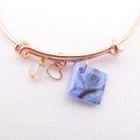 Powder Blue floral Glass Tile On a Rose Gold Plated Bangle