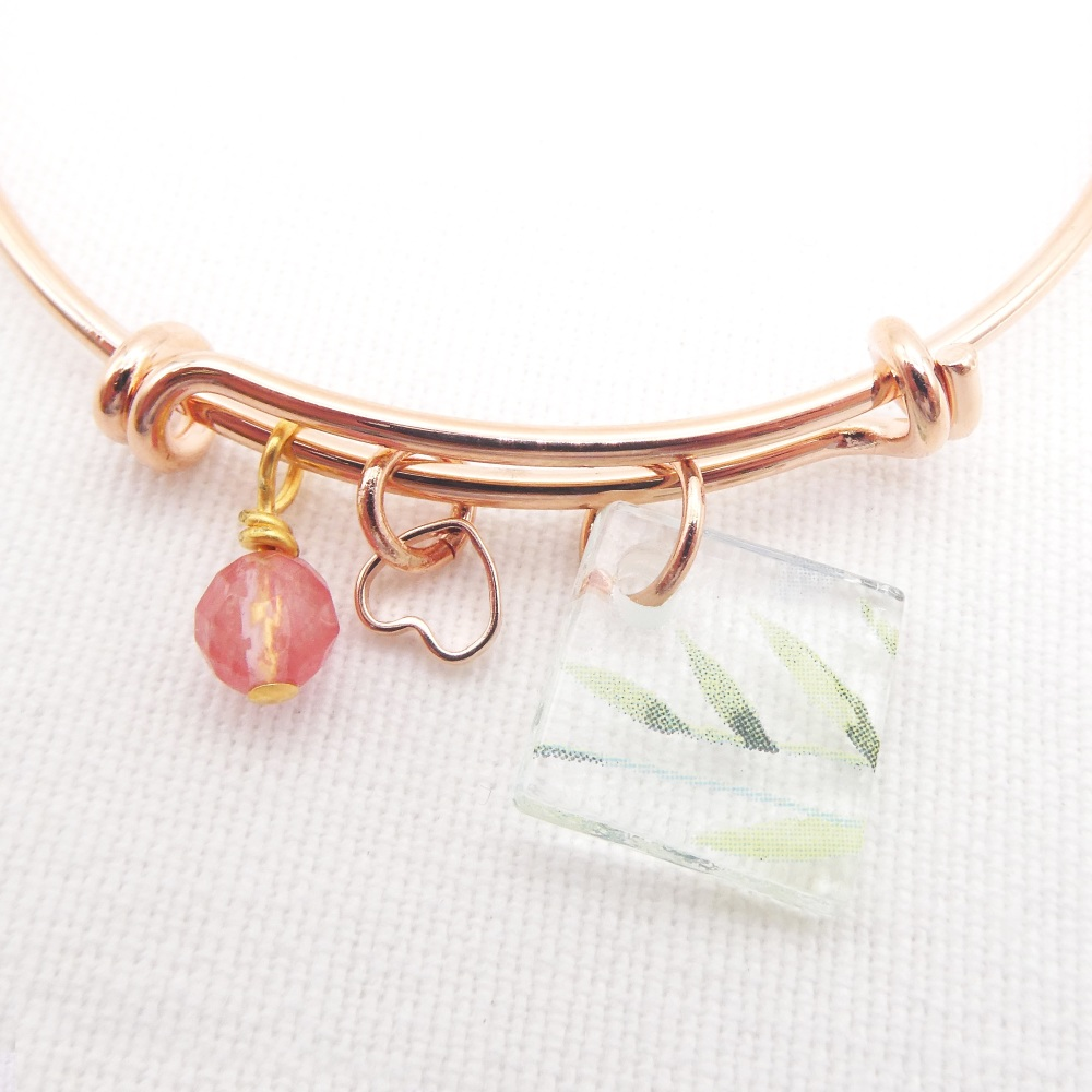 Clear floral Glass Tile On a Rose Gold Plated Bangle