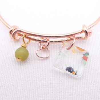 Clear Bee Glass Tile On a Rose Gold Plated Bangle
