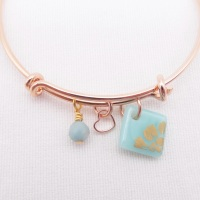 Turquoise sun Glass Tile On a Rose Gold Plated Bangle