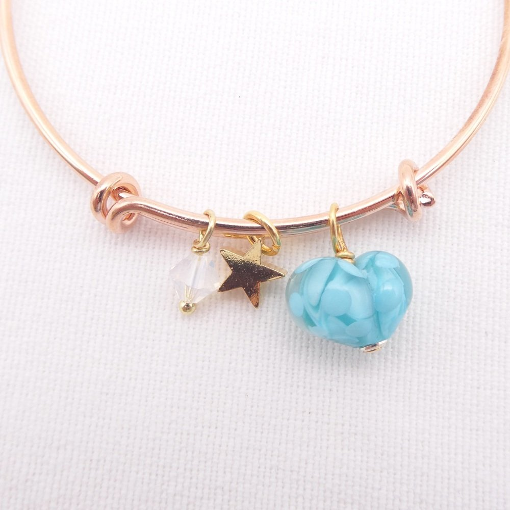 Turquoise glass Heart On a rose gold Plated Bangle