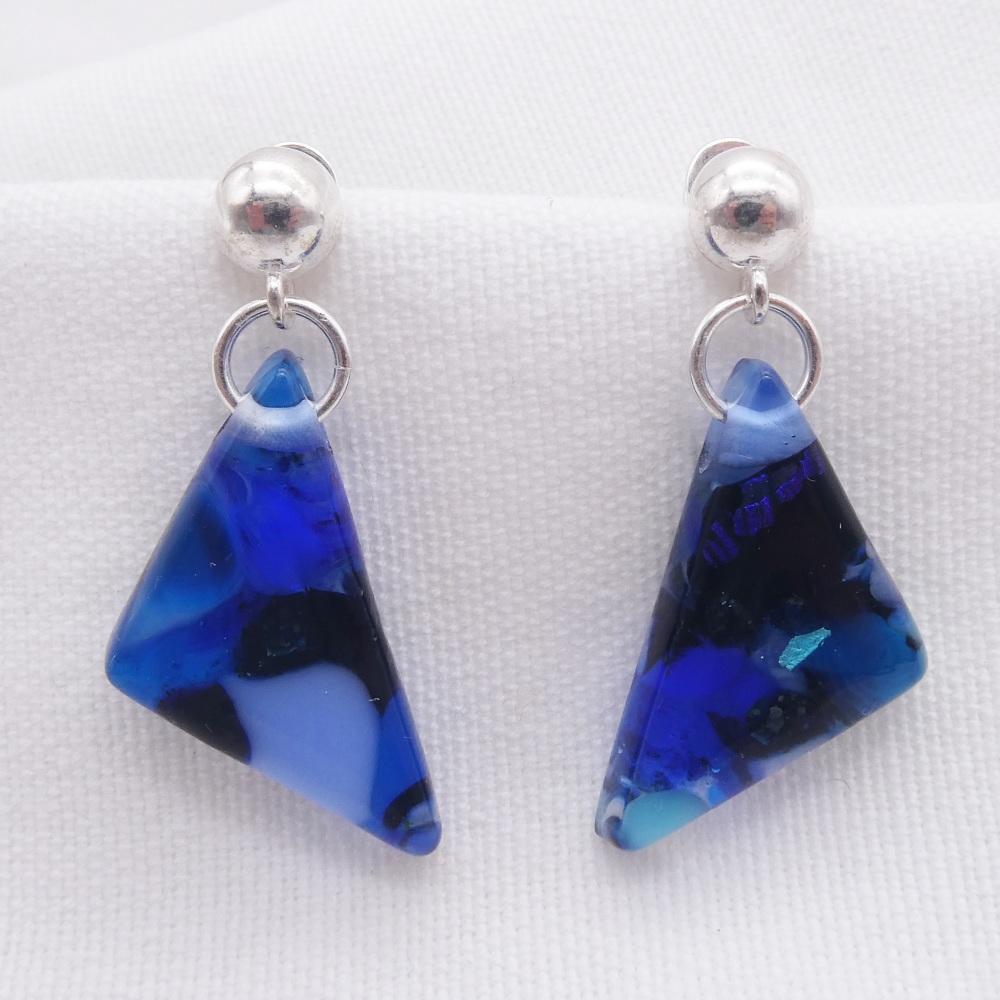 Blue geo drop earrings on sterling silver