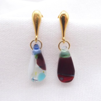 Plum raindrop earrings on filled gold