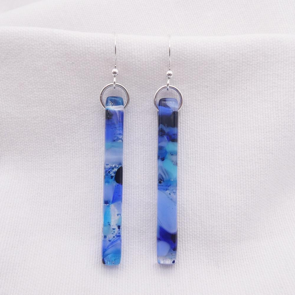 Blue glass pillar earrings on silver #3