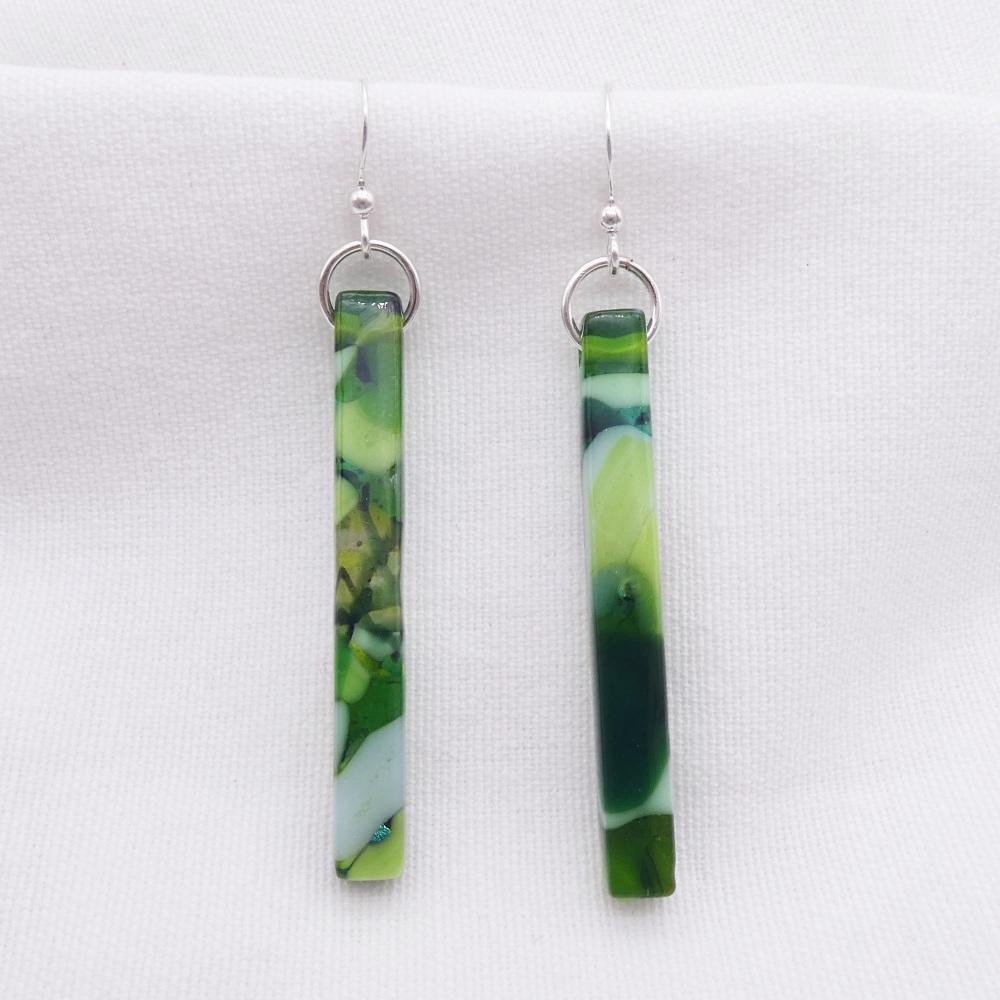 Green glass pillar earrings on silver #2