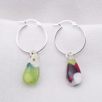Glass Raindrop earrings on sterling silver hoops #3