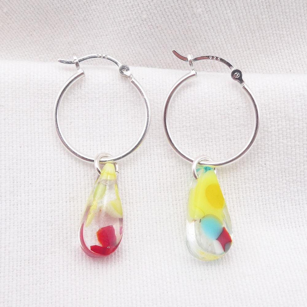 Glass Raindrop earrings on sterling silver hoops #4