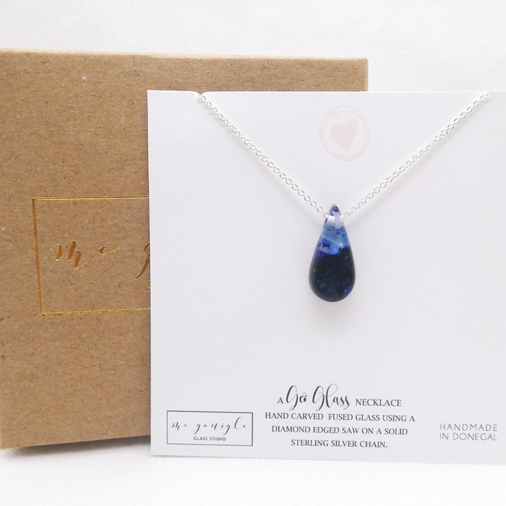 Small Blue geo Raindrop pendant on silver