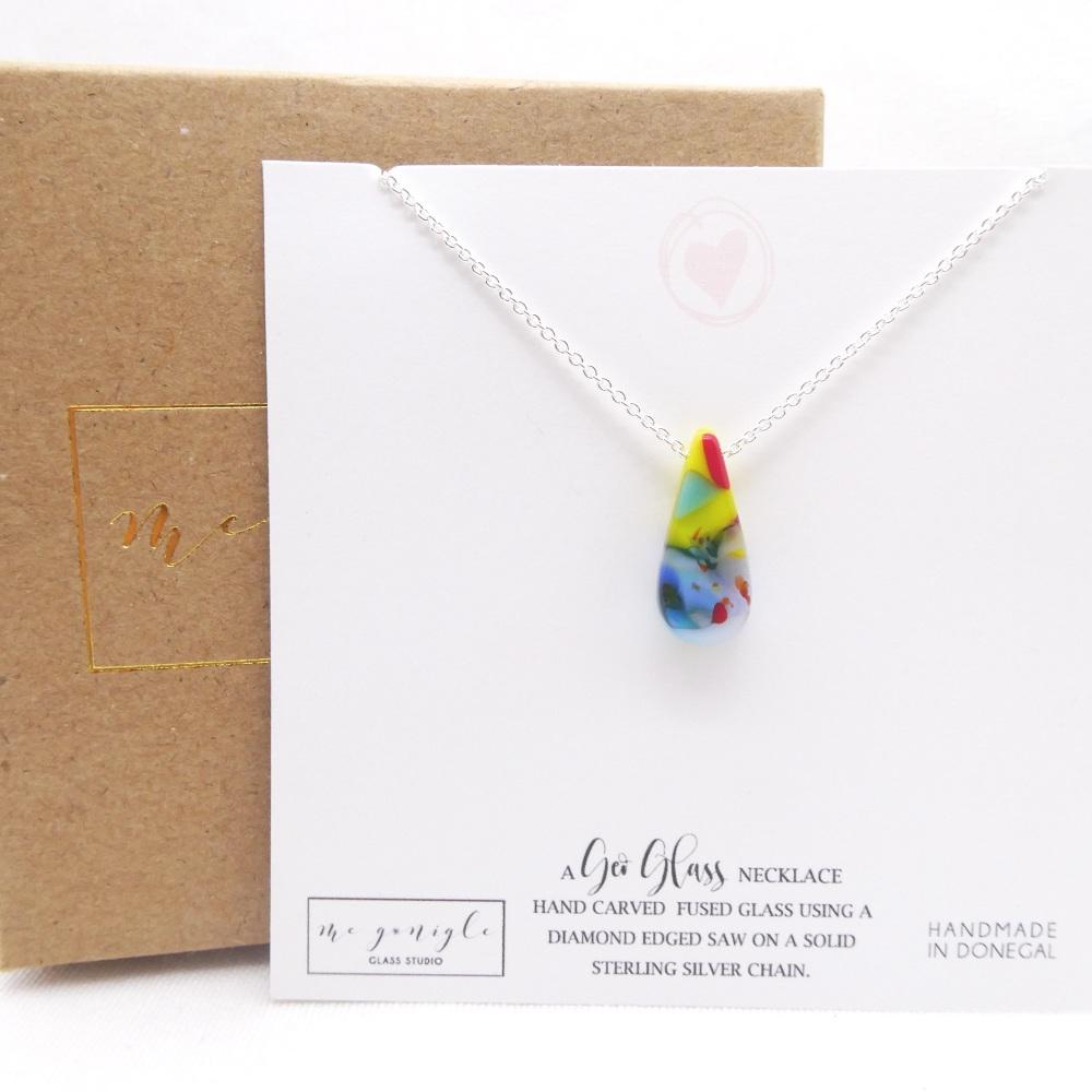 Small Multicoloured geo Raindrop pendant on silver #3