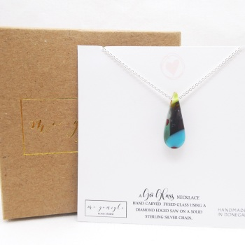 Small Multicoloured geo Raindrop pendant on silver #4