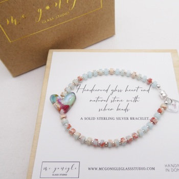 Pastel natural stone bracelet on silver