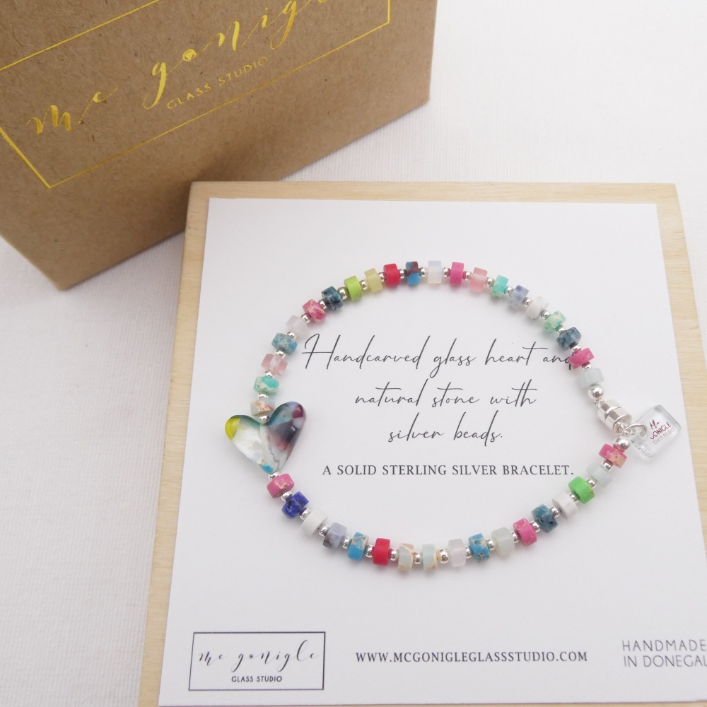 Multicoloured  natural stone bracelet on silver