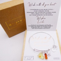 Solid sterling silver bangle-Wish with all your heart