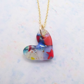Millieforie  glass heart on filled gold