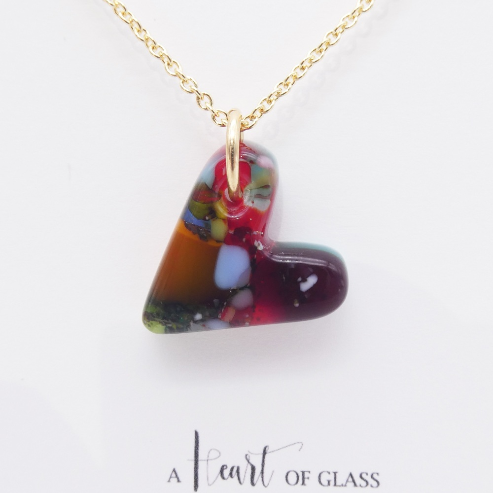 Multicoloured  glass heart on filled gold #3