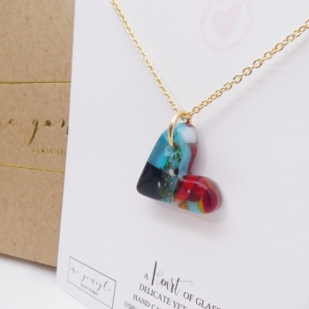 Multicoloured  glass heart on filled gold #6