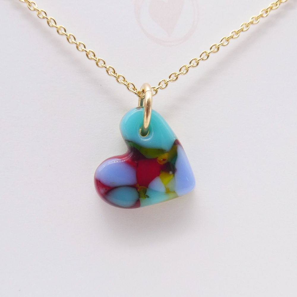 Multicoloured  glass heart on filled gold #8