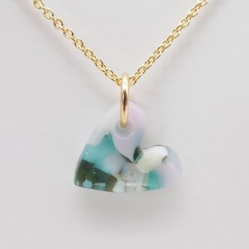 Pastel glass heart on filled gold