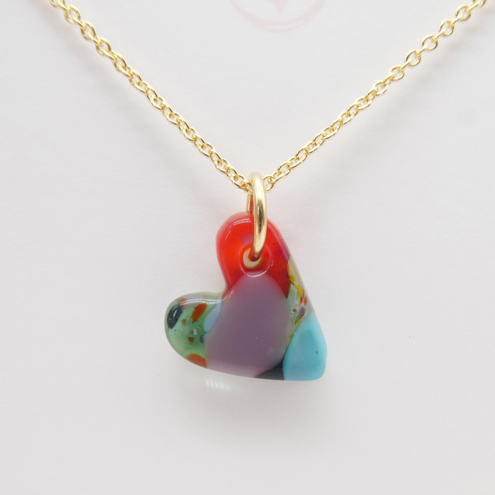 Multicoloured  glass heart on filled gold #9