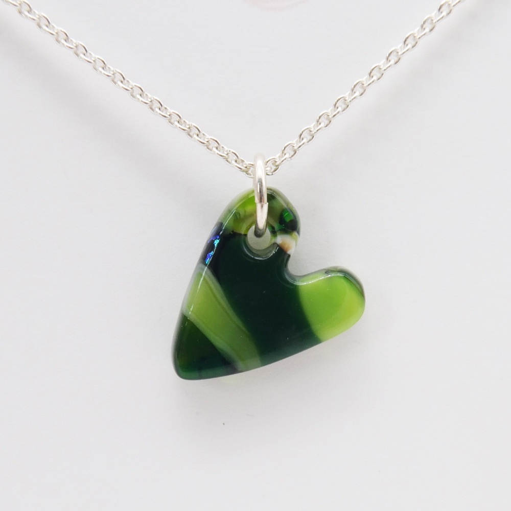 Green  glass heart on silver #1