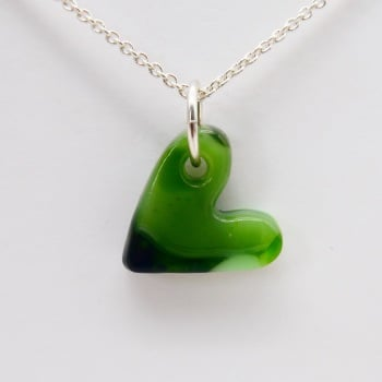 Green  glass heart on silver #2